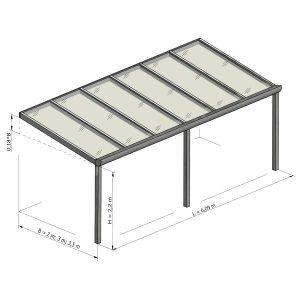 Gampre Regium stoginė terasai brėžinys 6.09 m pločio